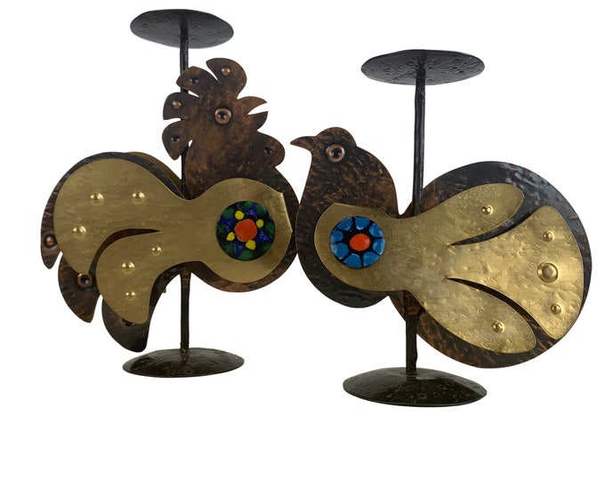 Pair of 1970s candle holders - Rooster and Songbird - Enamel/Brass/Bronze