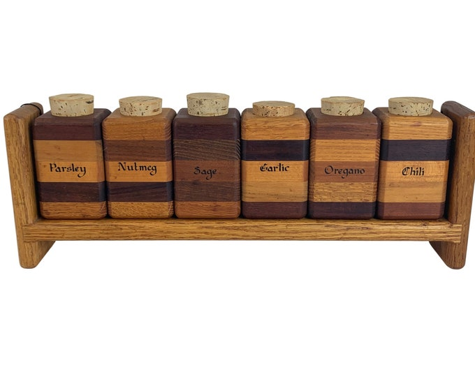 Hand-Made Modernist Wood Spice Jar Rack