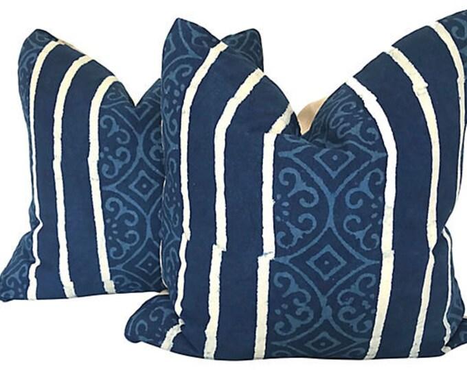 Hand-Printed Shibori Throw Pillows + Feather Inserts, Pair