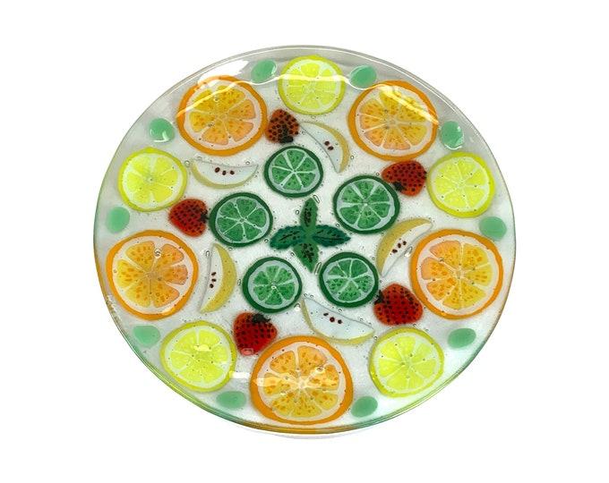 Hand-Made Fused Glass Fruit Platter