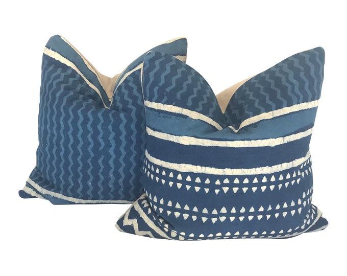 Pair Hand-Printed Shibori Throw Pillows