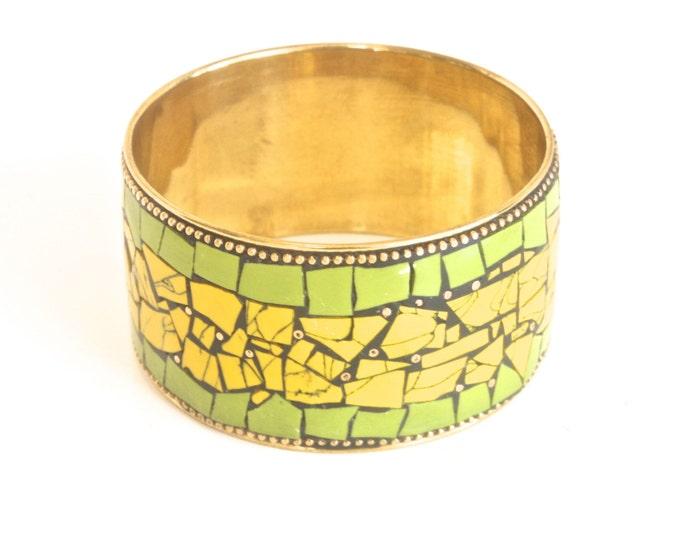 Golden Vintage Bohemian Picassiette Bracelet - Brass Mosaic - Boho Hippie - Green Yellow