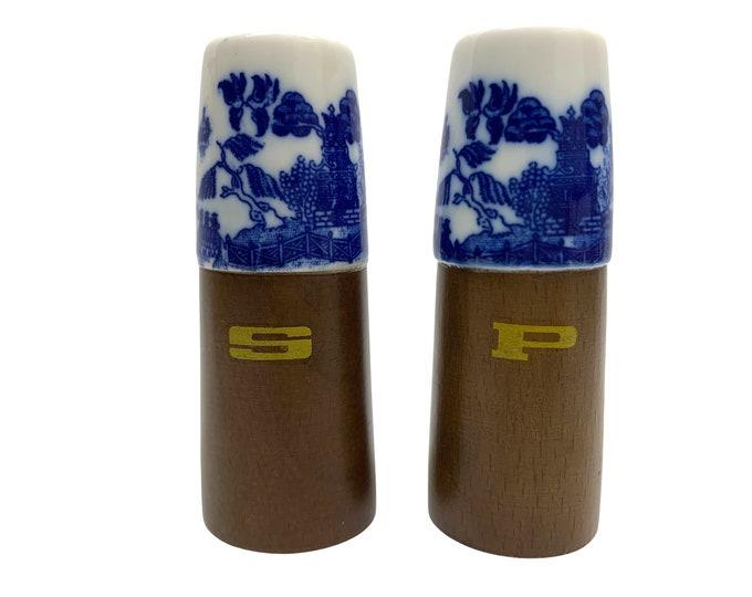 Blue Willow Salt and Pepper Shakers - Porcelain & Walnut Mid-Century Modern