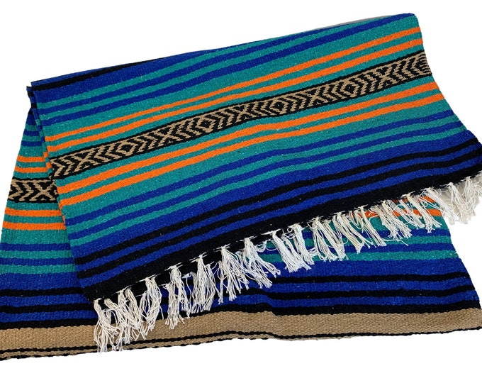 Colorful Mexican Fringed Throw Blanket