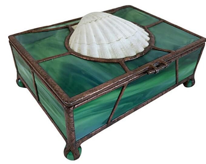 Slag Glass & Seashell Hinged Footed Box