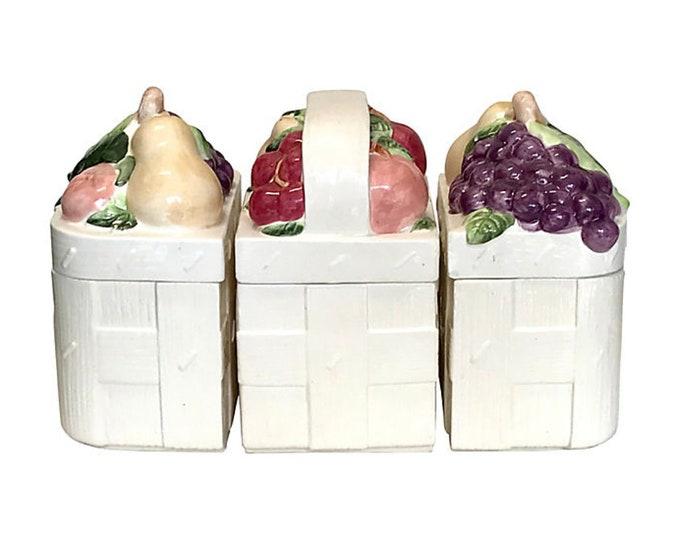 Ceramic Basket Canisters, Set of 3
