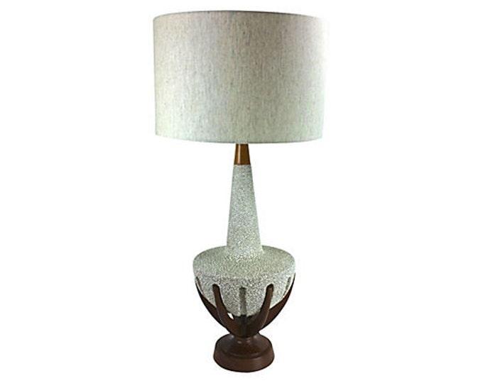 "Huge 41"" Walnut & Ceramic Lamp - Mid-Century Modern - Lava Glaze"