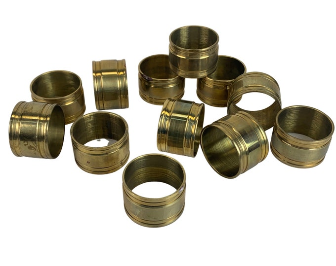 Solid Brass Napkin Rings, S/12