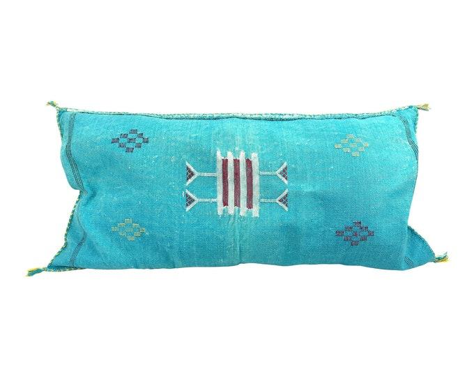 Moroccan Sabra Silk Aqua Lumbar Pillow