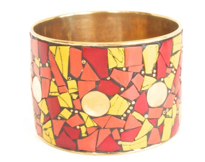 Golden Vintage Bohemian Picassiette Bracelet - Brass Mosaic - Boho Hippie - Red Melon Yellow