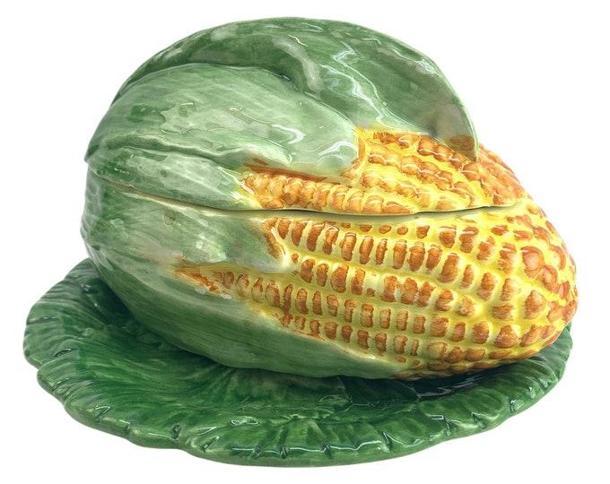 Italian Majolica Covered Corn Bowl