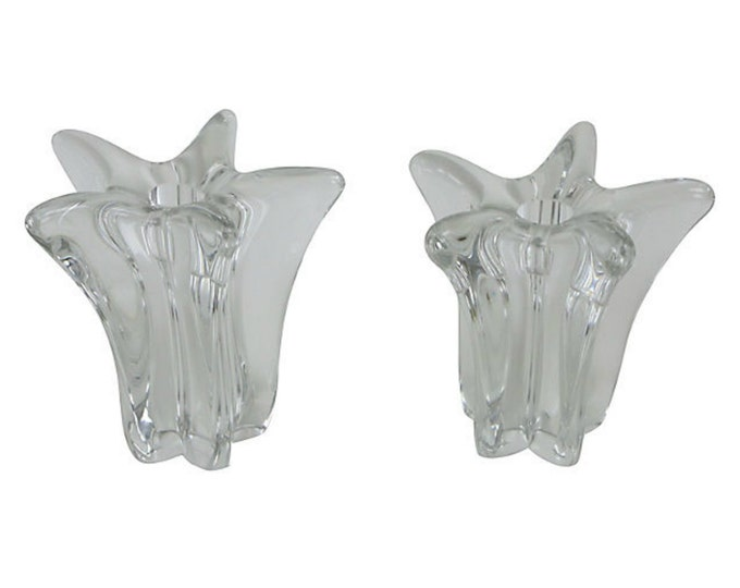 Crystal Candleholders by Daum France - Hand Blown