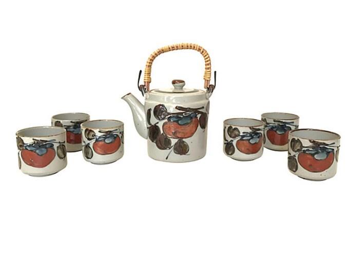 1960s Hand-Thrown Asian Stoneware Tea Set, S/7