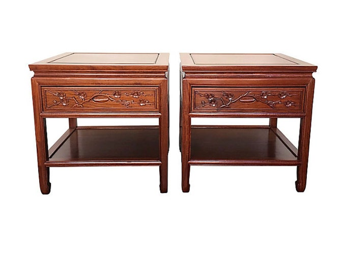 Chinese Rosewood Hand-Carved Nightstands or Side Tables, Pair