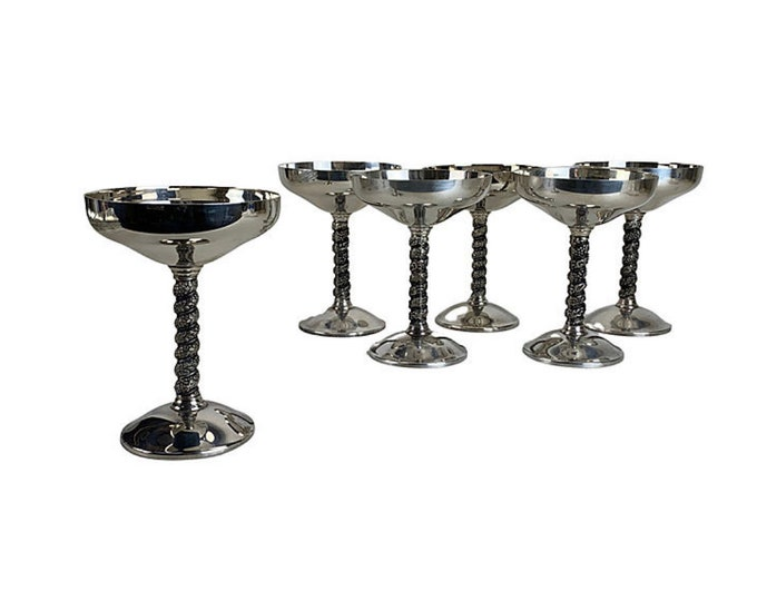 Silverplate Champagne Coupes, S/6