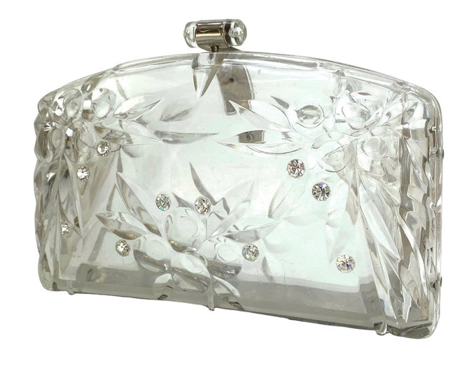 1960s Lucite & Rhinestone Clutch Handbag - Evening Bag - Purse