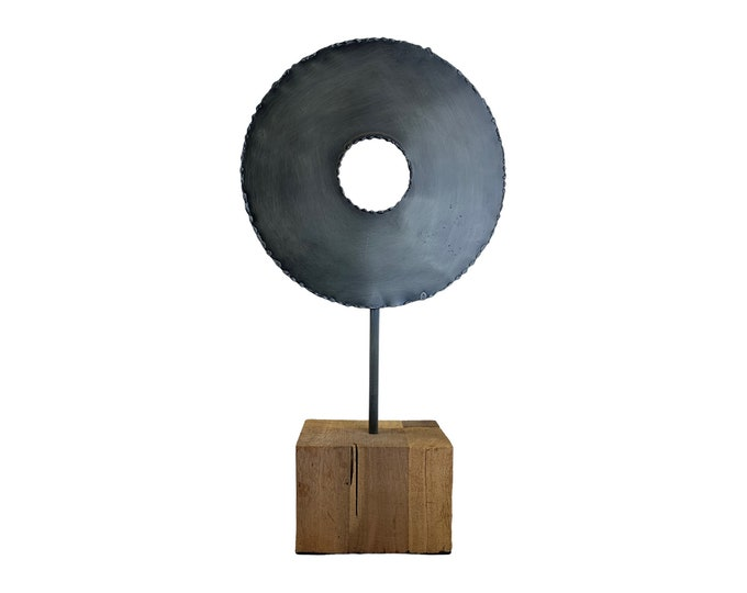 Torch Cut Metal Wheel on Wood Stand