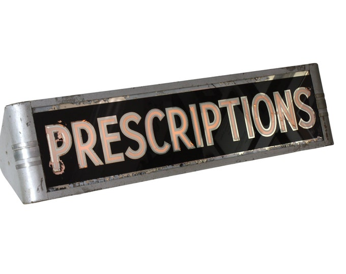 "1930s Deco ""Prescriptions"" Lighted Sign"