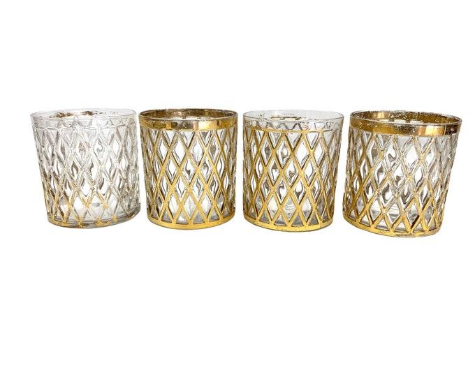 Imperial Glass Shoji Glassware - Set of Four - 14K Gold