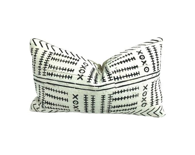African Mudcloth Lumbar Pillow