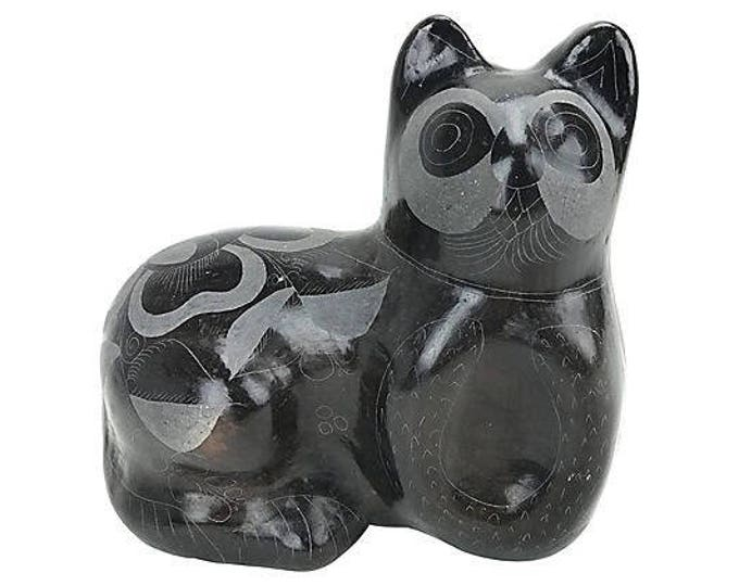 1970s Hand-Etched Hand-Thrown Ceramic Cat