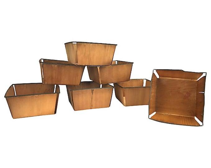 Antique Wood Berry Baskets, Set of 7