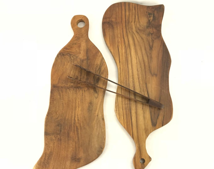 Pair Hand-Carved Mango-wood Cheese/Bread Boards with Tongs