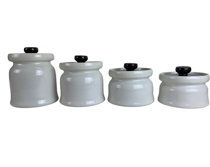1960s Midcentury Ceramic Canisters, S/4