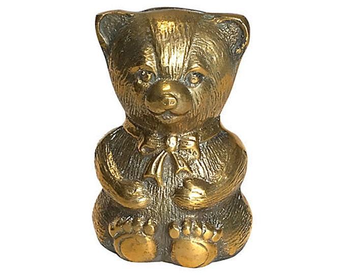 1980s Brass Teddy Bear Bank