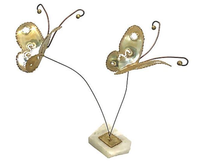 1970s Kinetic Marble & Brass Butterflies
