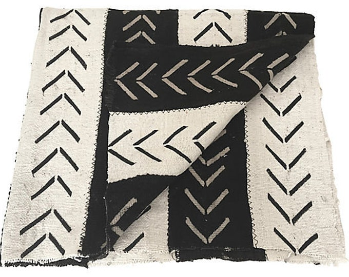 African Striped Mudcloth Throw