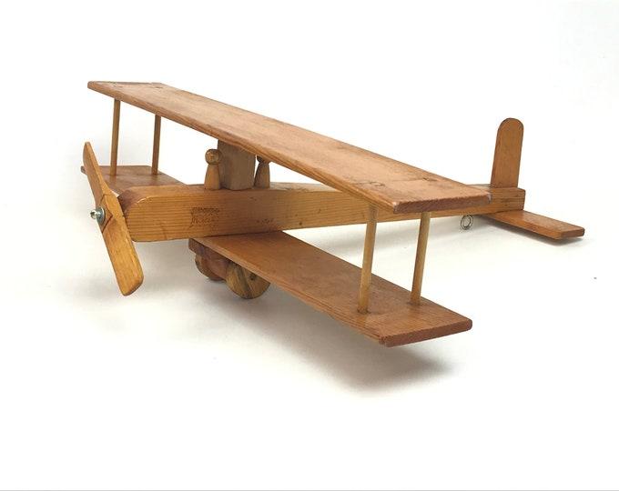 Hand-Made Wood Bi-Plane