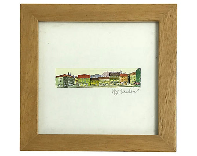 Framed Row House Print Signed by Artist