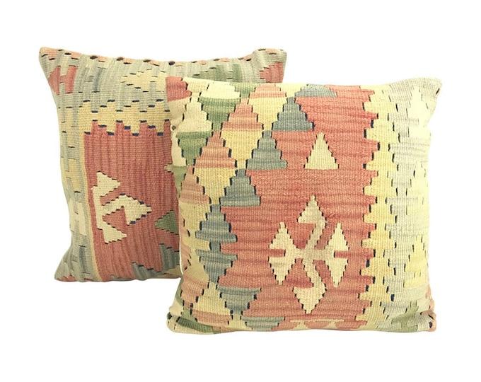 Pair Geometric Turkish Kilim Pillows
