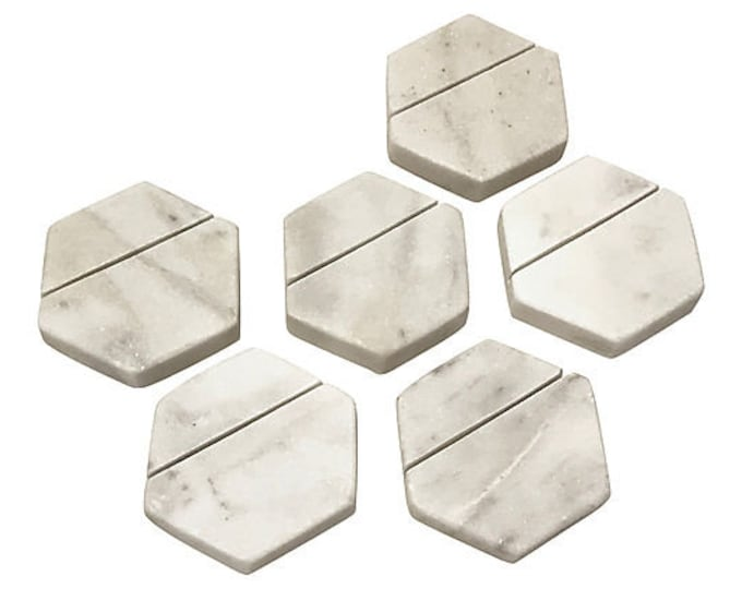 Marble Hexagonal Place Card Holders, Set of 6