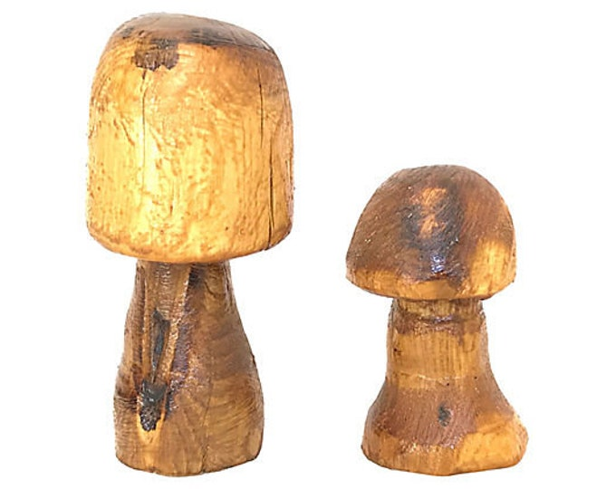 Carved Wood Mushrooms, Pair