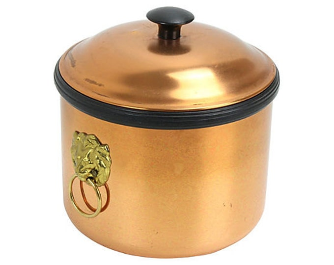Copper & Brass Lion Detail Ice Bucket - Coppercraft Guild