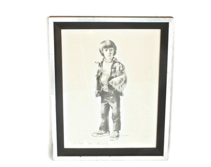 Untitled Little Boy John Kelly Artist - Lithograph - Sketch Pencil - Vintage 1970s - California Art
