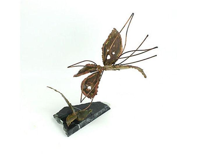 Copper Kinetic Butterfly Sculpture - Mid century Modern - Brutalist