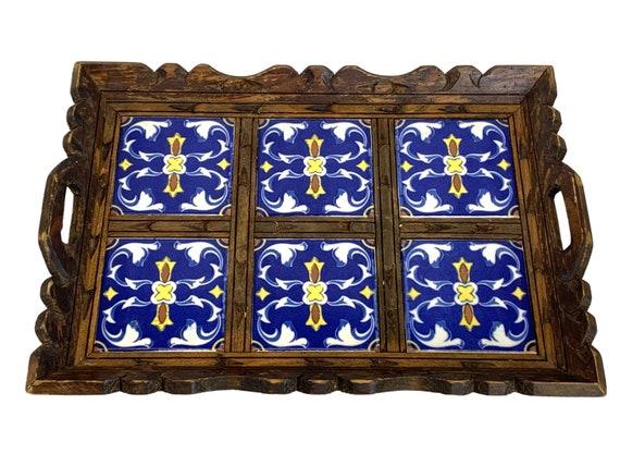 Midcentury Wood & Tile Handled Tray