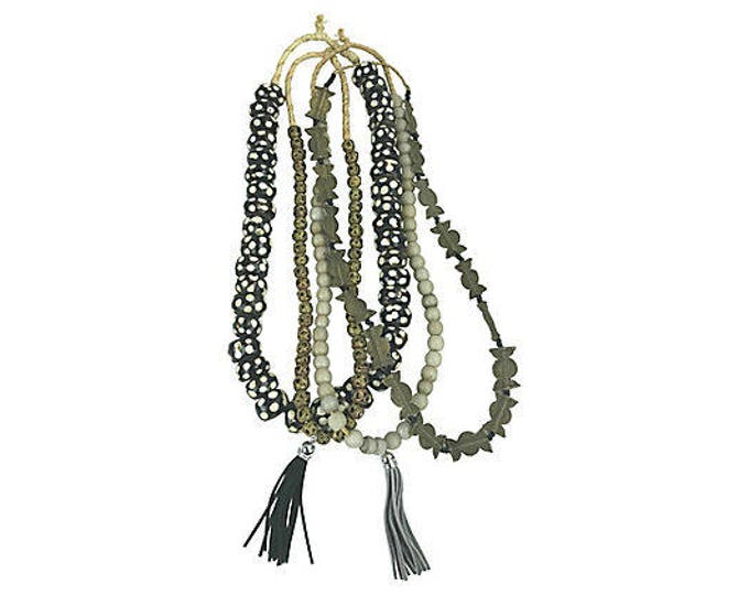 African Brass, Ceramic & Bone Beads, S/4