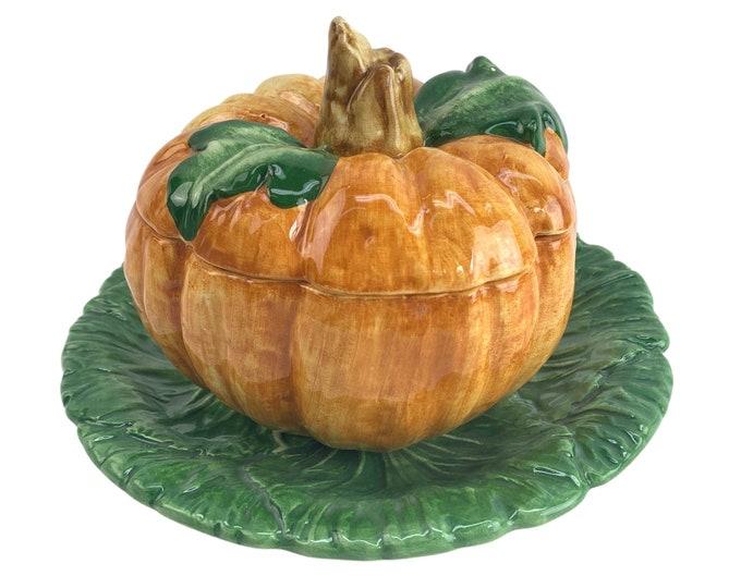 Italian Majolica Covered Pumpkin Bowl