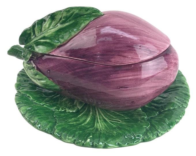 Italian Majolica Covered Eggplant Bowl