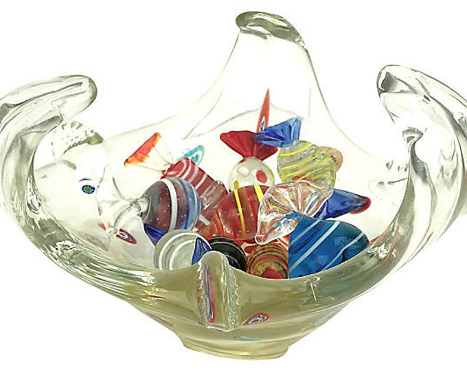 Murano Millefiore Glass Bowl & Candies, 11 Pieces