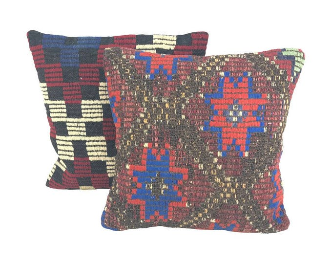 Pair Geometric Turkish Kilim Throw Pillows