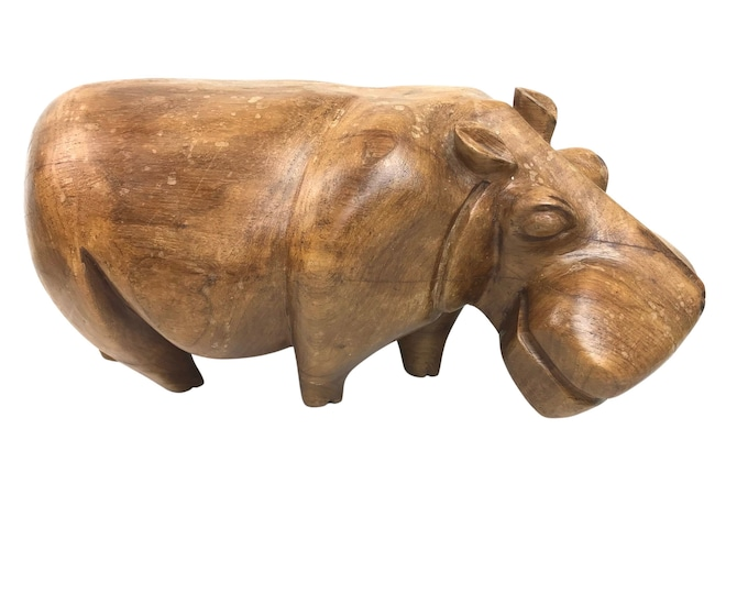"""Large-Scale Hand-Carved 17""""L Hippopotamus"""