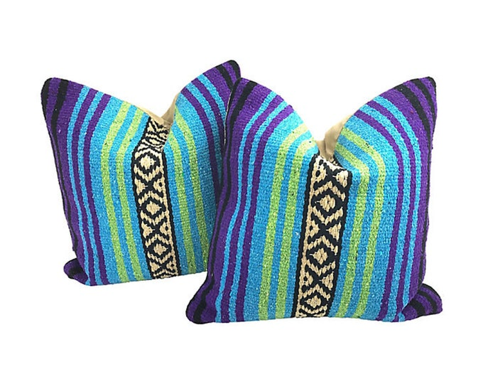 Mexican Serape Throw Pillows + Feather Inserts, Pair