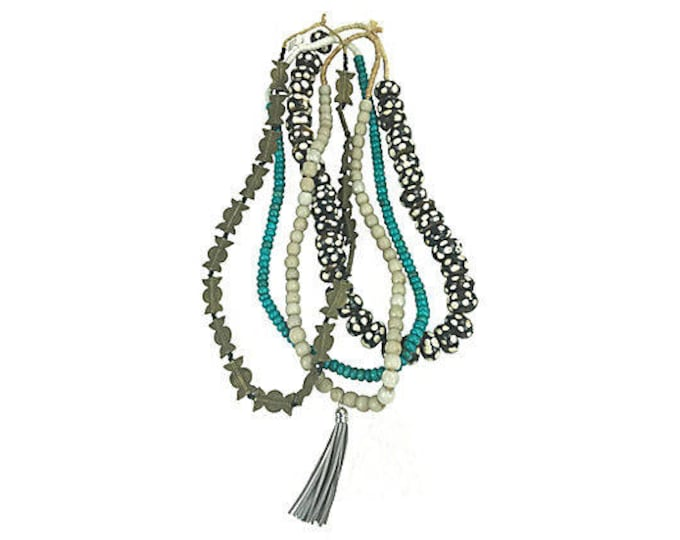 African Turquoise/Brass/Bone Beads, S/4
