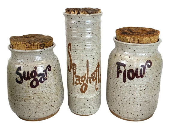 Hand-Made Stoneware Kitchen Canisters