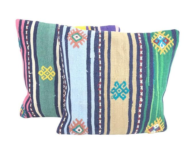 Pair Striped Turkish Kilim Throw Pillows